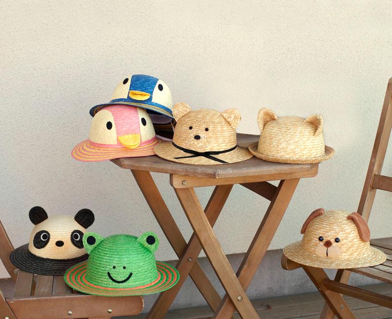 伝統の逸品 田中帽子店の 子供用動物麦わら帽子。子供用の動物をあしらった可愛い麦わら帽子<日本製>