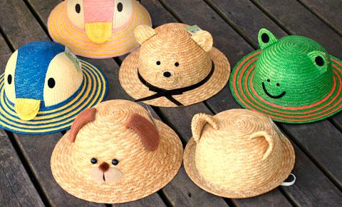子供用動物麦わら帽子。