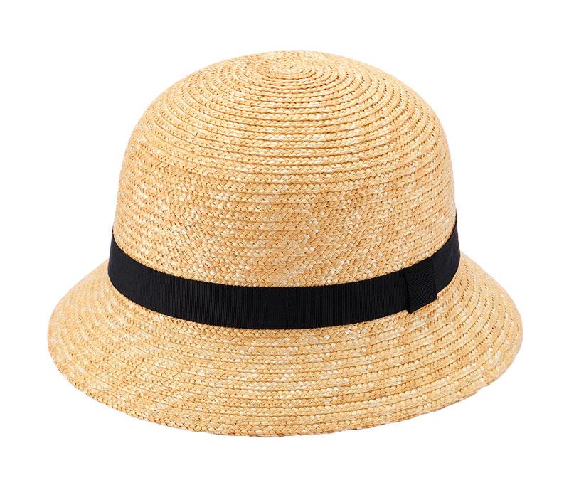 田中帽子店 uk-h010-glbk Gland グラン 麦わら帽子 クロッシェ 子供用 ブラック 52cm 54cm 釣鐘型の可愛らしい子ども用麦わら帽子