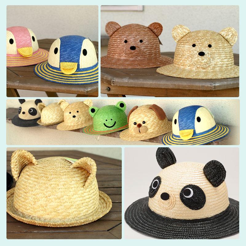 伝統の逸品 田中帽子の 子供用動物麦わら帽子。