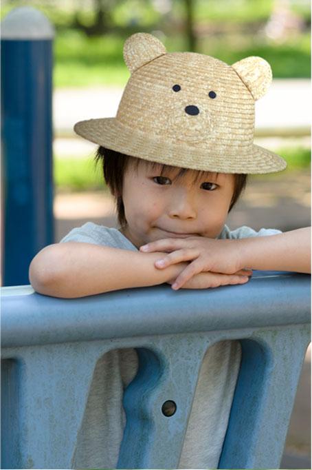 伝統の逸品 田中帽子の 子供用動物麦わら帽子。子供用の動物をあしらった可愛い麦わら帽子<日本製> ペンギン ブルー ピンク カエル ネコ イヌ クマ パンダ