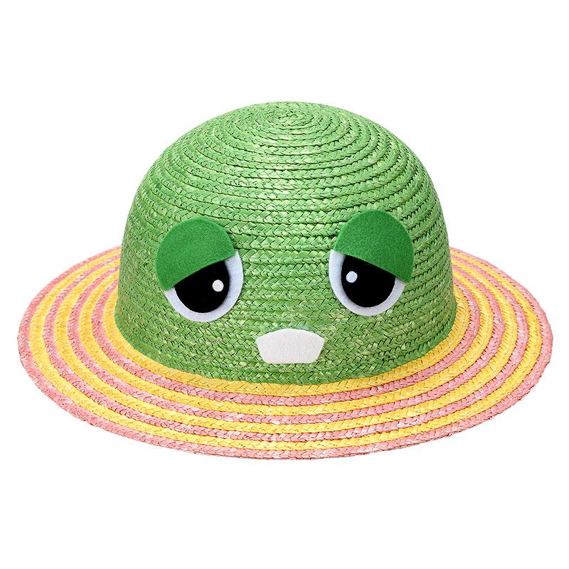 「ガチャピン・ムック」×田中帽子店 uk-h010p 麦わら ガチャピン・ムック お子様用帽子 ガチャピン