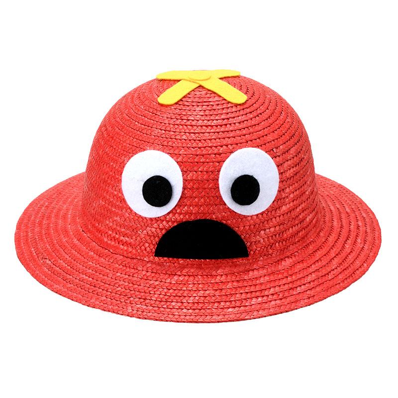 「ガチャピン・ムック」×田中帽子店 uk-h010p 麦わら ガチャピン・ムック お子様用帽子 ムック