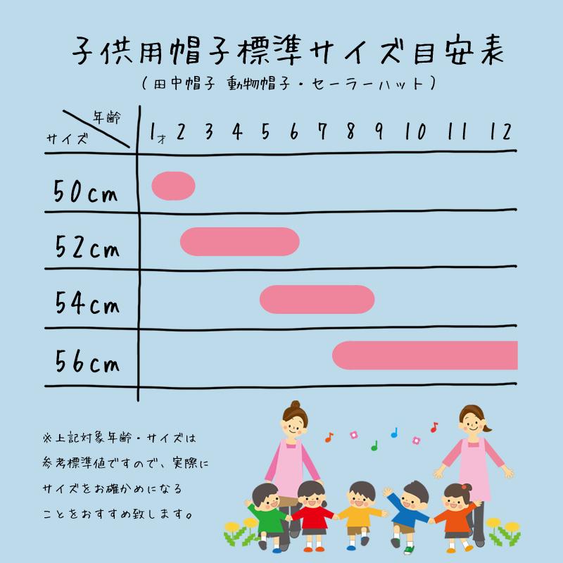 田中帽子(たなかぼうし)子供用セーラー麦わら帽子 子供用帽子標準サイズ目安表 ※上記対象年齢・サイズは参考標準値ですので、実際にサイズをお確かめになることをおすすめ致します。