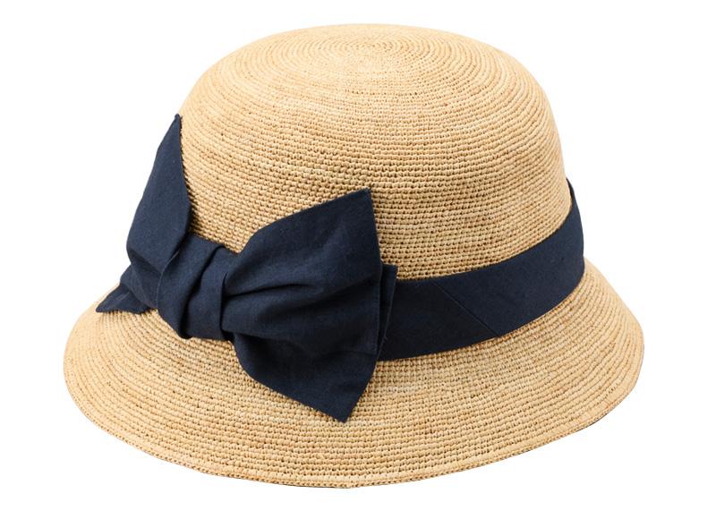 田中帽子店 uk-h011-mi Mina ミーナ ラフィア 子供用 前リボン女優帽 54cm 軽くて柔らかなラフィアで作ったキッズ用帽子