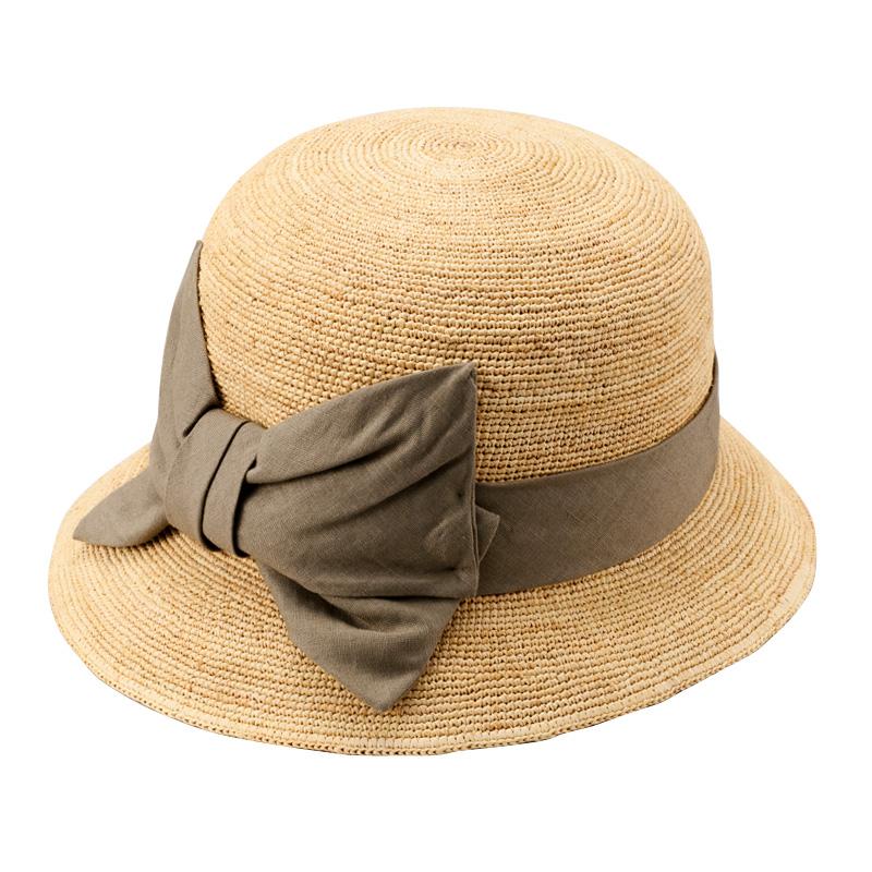 田中帽子店 uk-h011-mi Mina ミーナ ラフィア 子供用 前リボン女優帽 54cm ナチュラル×カーキ