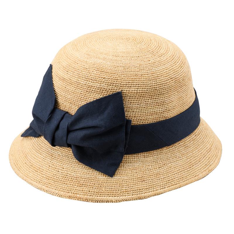 田中帽子店 uk-h011-mi Mina ミーナ ラフィア 子供用 前リボン女優帽 54cm ナチュラル×ネイビー