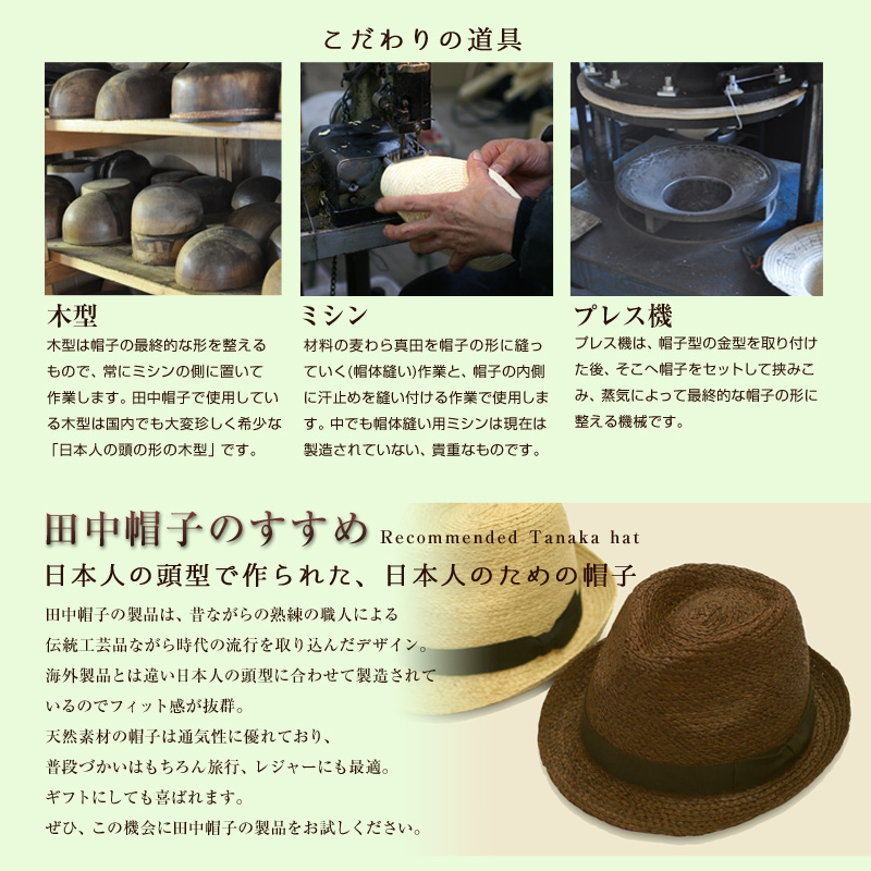 田中帽子について 埼玉県 春日部市 伝統工芸 UKプランニング 麦わら帽子 日本製
