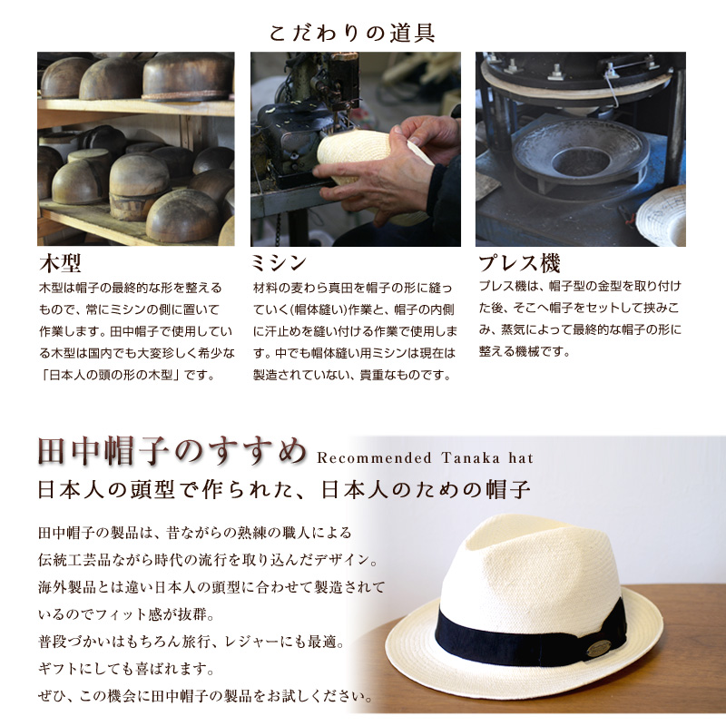 田中帽子 たなかぼうし 紳士用 パナマ調ハット UKプランニング こだわりの道具 田中帽子のすすめRecommended Tanaka hat日本人の頭型で作られた、日本人のための帽子