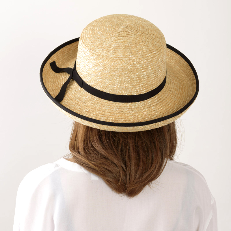 田中帽子店 uk-h041 Lily リリー エッジアップ パイピング 麦わら帽子(57.5cm)