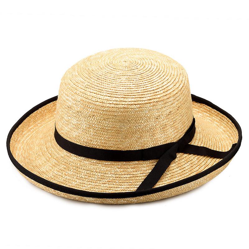 田中帽子店 uk-h041 Lily リリー エッジアップ パイピング 麦わら帽子(57.5cm) ナチュラル
