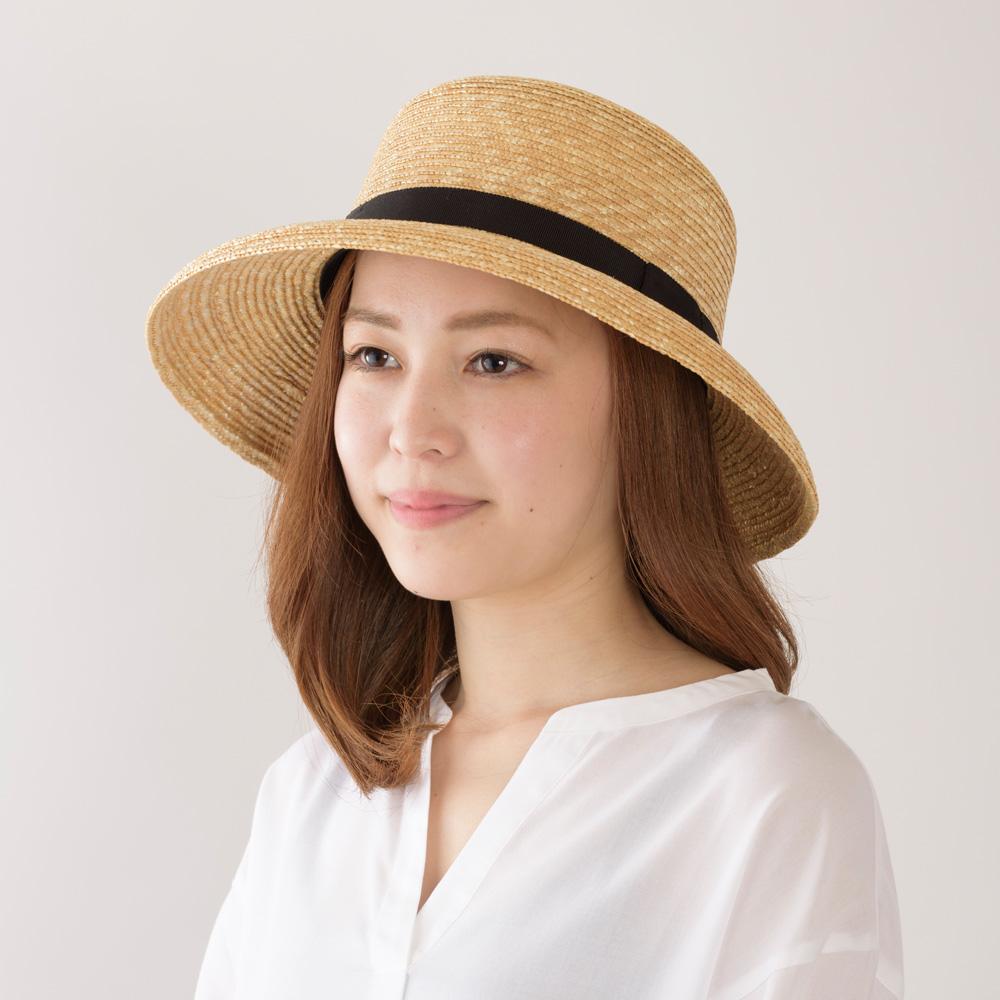 田中帽子店 uk-h008 Anne アンヌ つば(短) 中麦女優帽 (58cm)