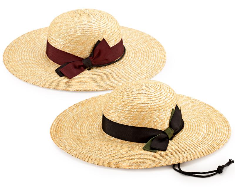 田中帽子店 uk-h049 農作業用 麦わら帽子 59cm 農業用の帽子におしゃれな二重リボン。モダンなデザインの麦わら帽子