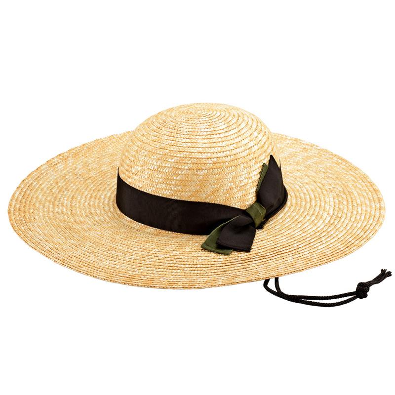 田中帽子店 uk-h049 農作業用 麦わら帽子 59cm  ブラック&カーキ
