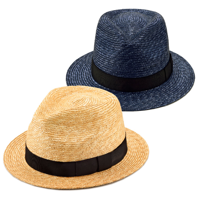 田中帽子店 uk-h052 Glan グレン フェドラー型 中折れ 麦わら 帽子 100年以上の歴史と伝統を誇る老舗が作った逸品。さまざまなファッションにも合わせやすいフェドラー型麦わら帽子。