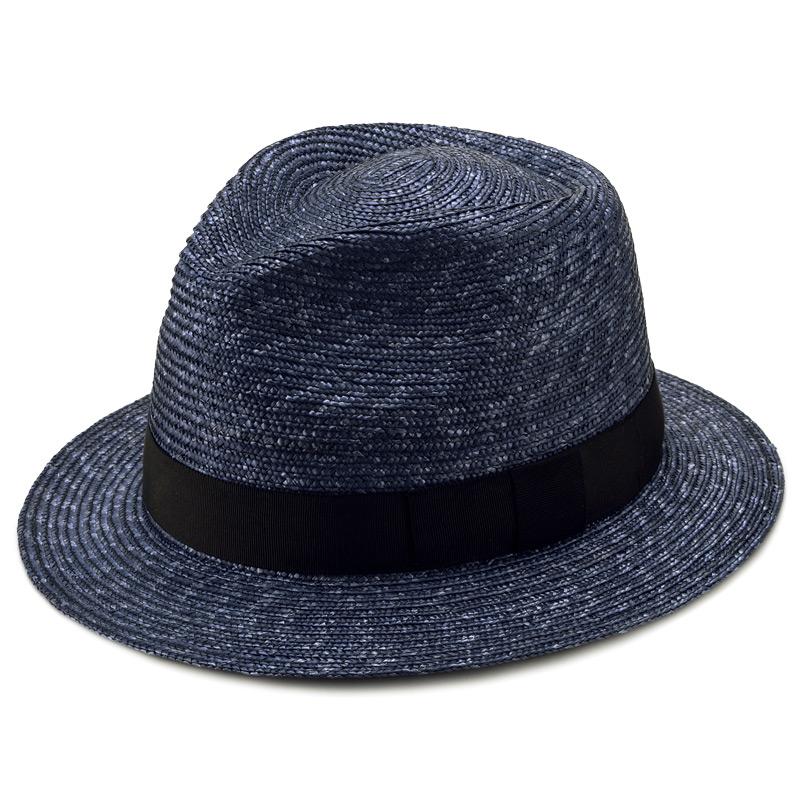 田中帽子店 uk-h052 Glan グレン フェドラー型 中折れ 麦わら 帽子 ネイビー