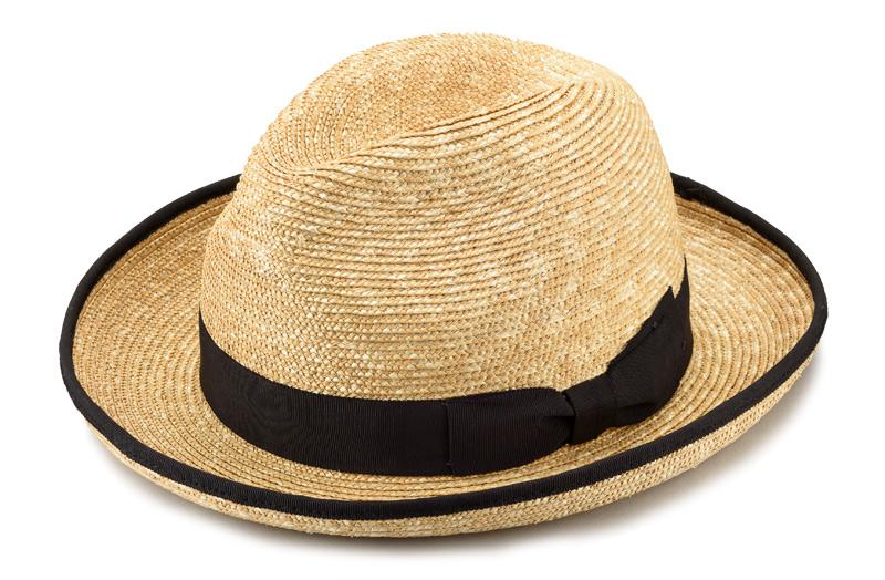 田中帽子店 uk-h053 Marc マルク ホンブルグ 麦わら帽子(58.5cm) 印象を引き締めるパイピングを施した麦わら帽子。