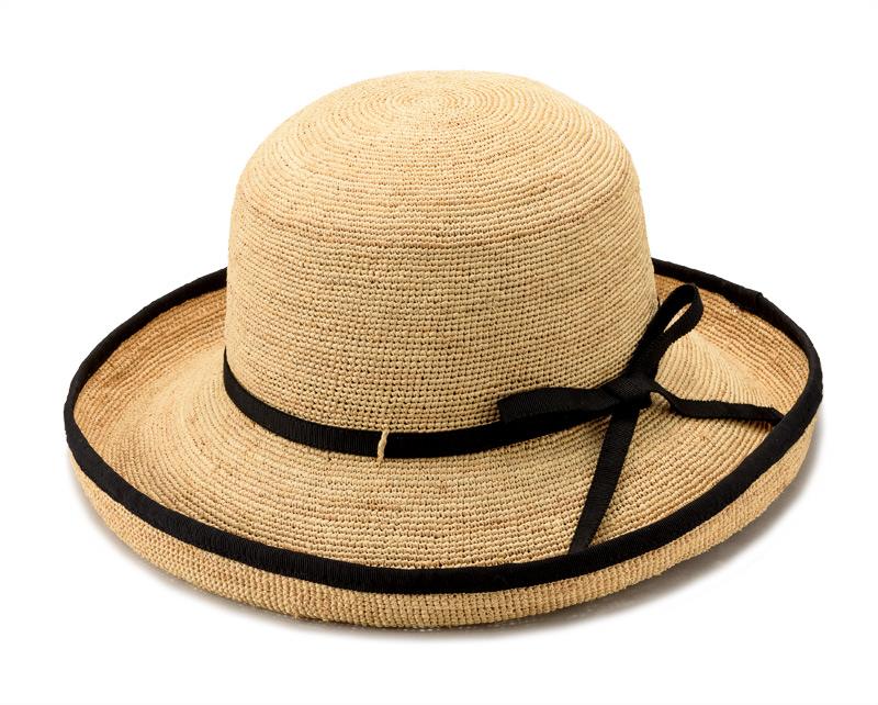 田中帽子店 uk-h056 Flore フローラ ラフィア エッジアップ 気品のあるエッジアップデザインにパイピングを施した、天然ラフィアの女性用帽子