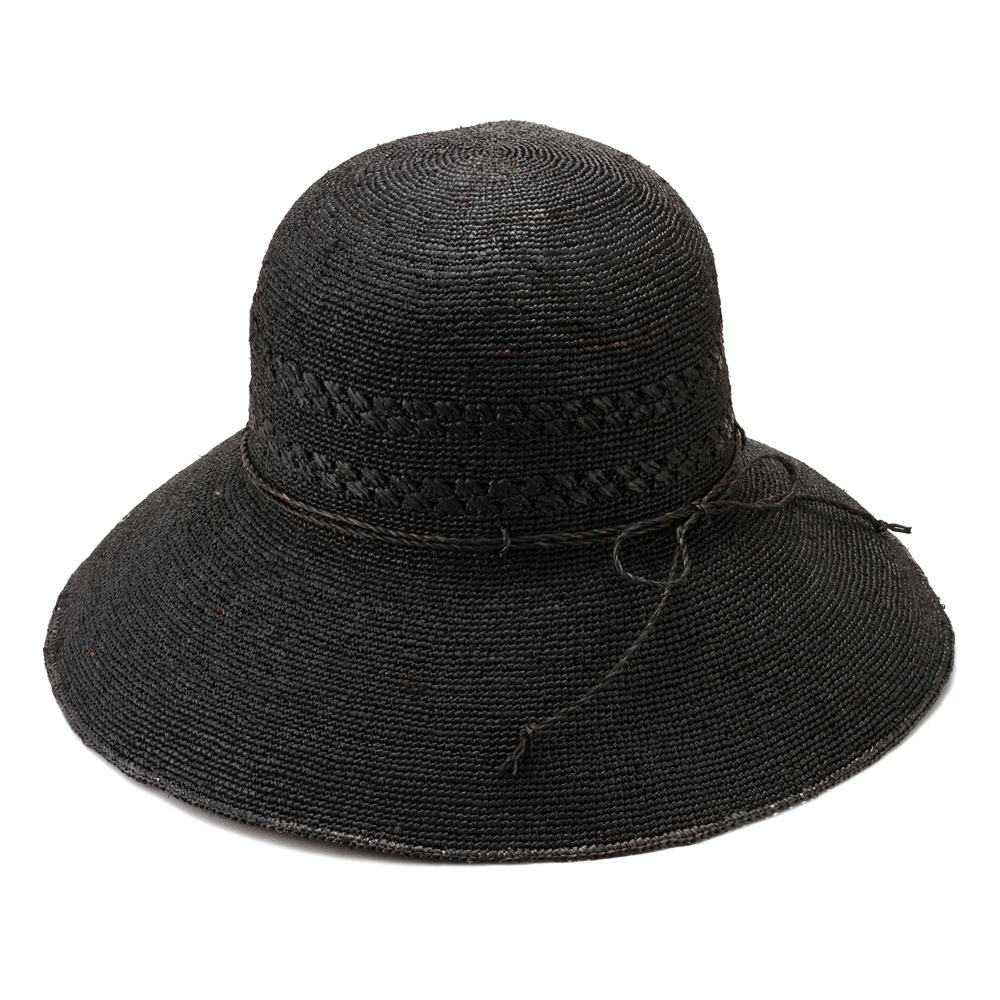田中帽子店 uk-h058 Marie マリー ラフィア レース編み つば広帽子(58cm) ブラック