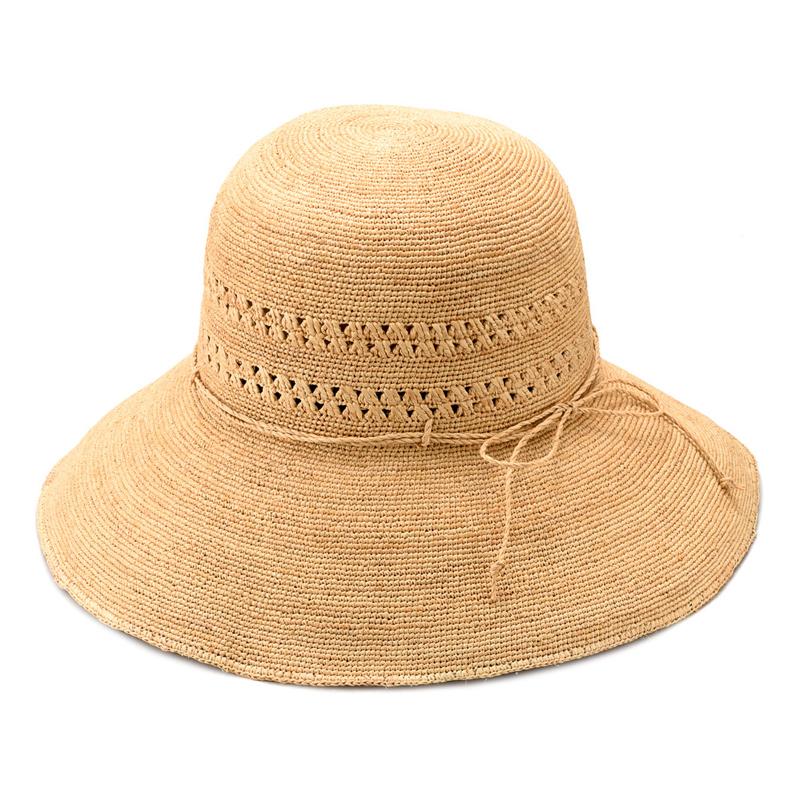 田中帽子店 uk-h058 Marie マリー ラフィア レース編み つば広帽子(58cm) シンプルなデザインが魅力の、天然素材ラフィアのつば広帽