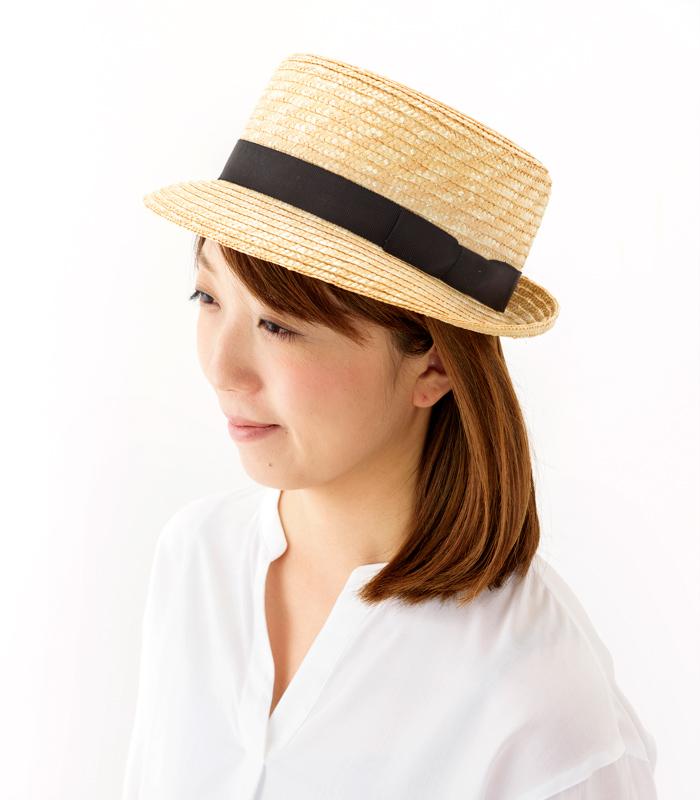 田中帽子店 uk-h064 Colette コレット カンカン型 中折れハット 57.5cm 中折れ帽のような短いつばに頭部はカンカン帽。新しいデザインの麦わら帽子