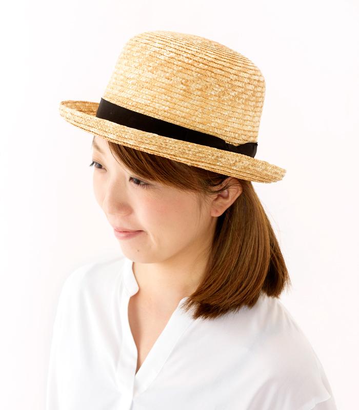 田中帽子店 uk-h065 Carla カーラ ボーラーハット 麦わら帽子 57.5cm 高めのラウンドクラウンと少し反り上がったつばが特長の麦わら帽子