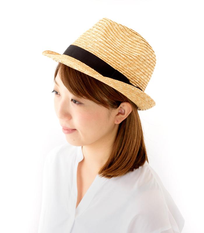 田中帽子店 uk-h067 Loan ロアン 女性用 中折れ 麦わら帽子 57.5cm クラウンが高めのデザイン。かぶりやすい中折れ麦わら帽子