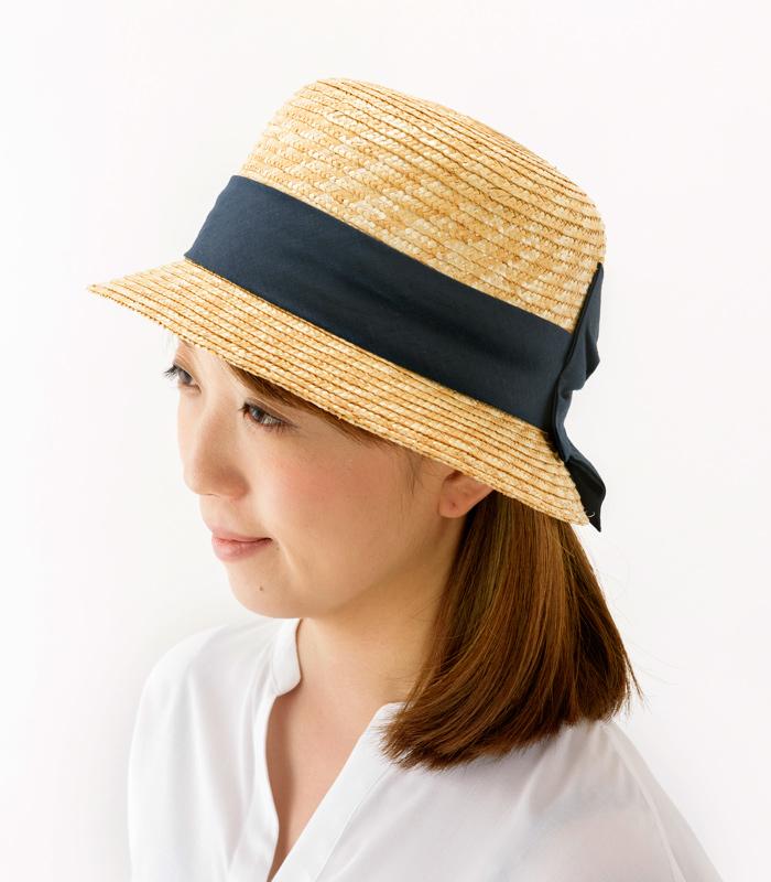 田中帽子店 uk-h069 Sala サラ 麦わら クロッシェ 57.5cm 女性らしい美しいシルエットが魅力の麦わらクロッシェ