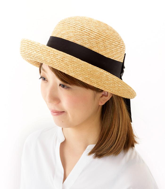 田中帽子店 uk-h071 Bruton ブルトン 麦わら ブルトン 56.5cm 女性らしい美しいシルエットが魅力のブルトンタイプの麦わら帽子
