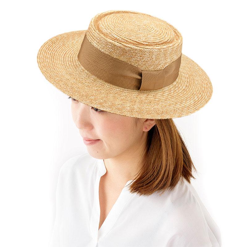 田中帽子店 uk-h074 Alma アルマ ポークパイ型 つば広カンカン 57.5cm 人気上昇中!ナチュラルスタイルに合う、カンカン帽に似たデザインの麦わら帽子