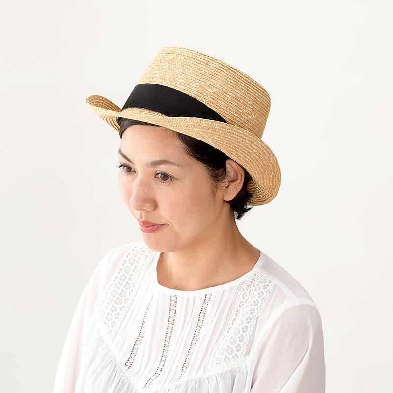 田中帽子店 uk-h076 Olga オルガ 麦わら シルクハット型 カンカン帽子 57.5cm シルクハット型のかたちが印象的。テンガロンつばがおしゃれなカンカン帽子。