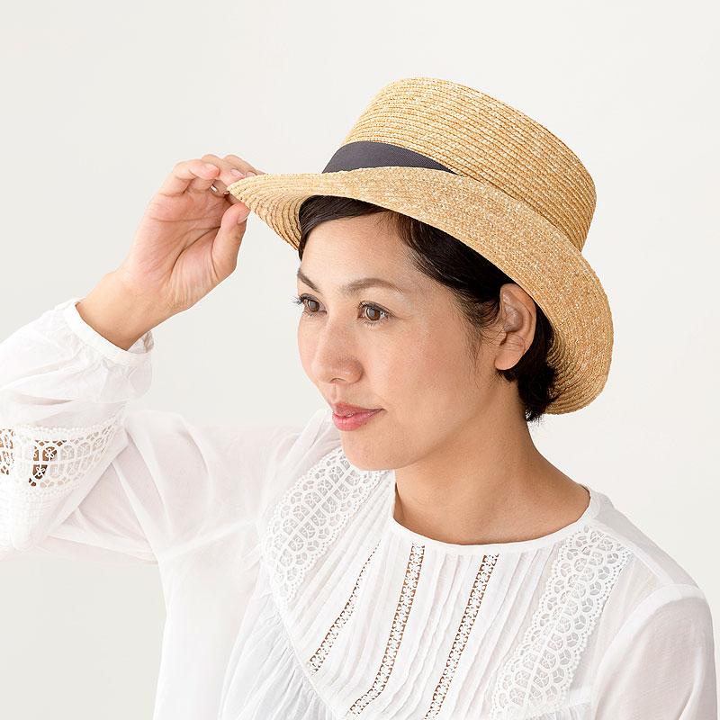 田中帽子店 uk-h076 Olga オルガ 麦わら シルクハット型 カンカン帽子 57.5cm