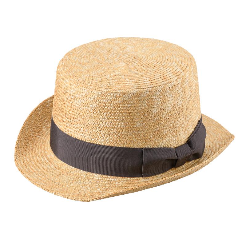 田中帽子店 uk-h076 Olga オルガ 麦わら シルクハット型 カンカン帽子 57.5cm  グレー