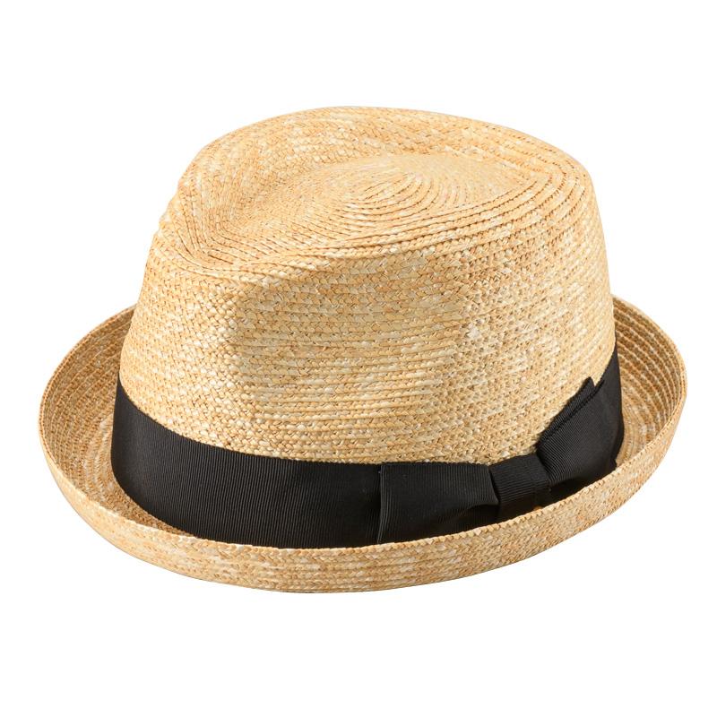 田中帽子店 uk-h077 Lloyd ロイド 麦わら 紳士用 ショートブリム オールアップ 中折れハット 59cm ナチュラル
