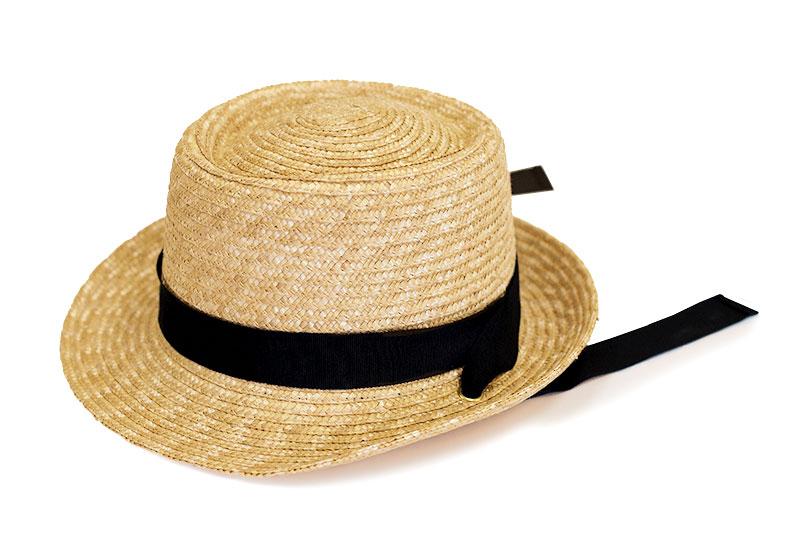 田中帽子店 uk-h078-na Tina ティナ ポークパイ型 カンカン 帽子 麦わら 女性用  ロングリボン ハット 57.5cm  ナチュラル