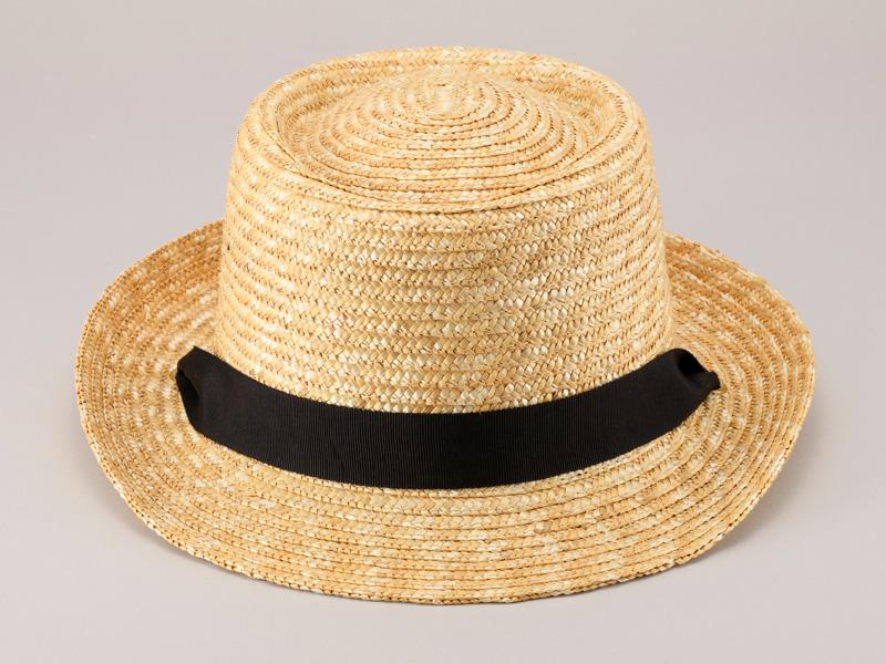 田中帽子店 uk-h078-na Tina ティナ ポークパイ型 カンカン 帽子 麦わら 女性用  ロングリボン ハット 57.5cm