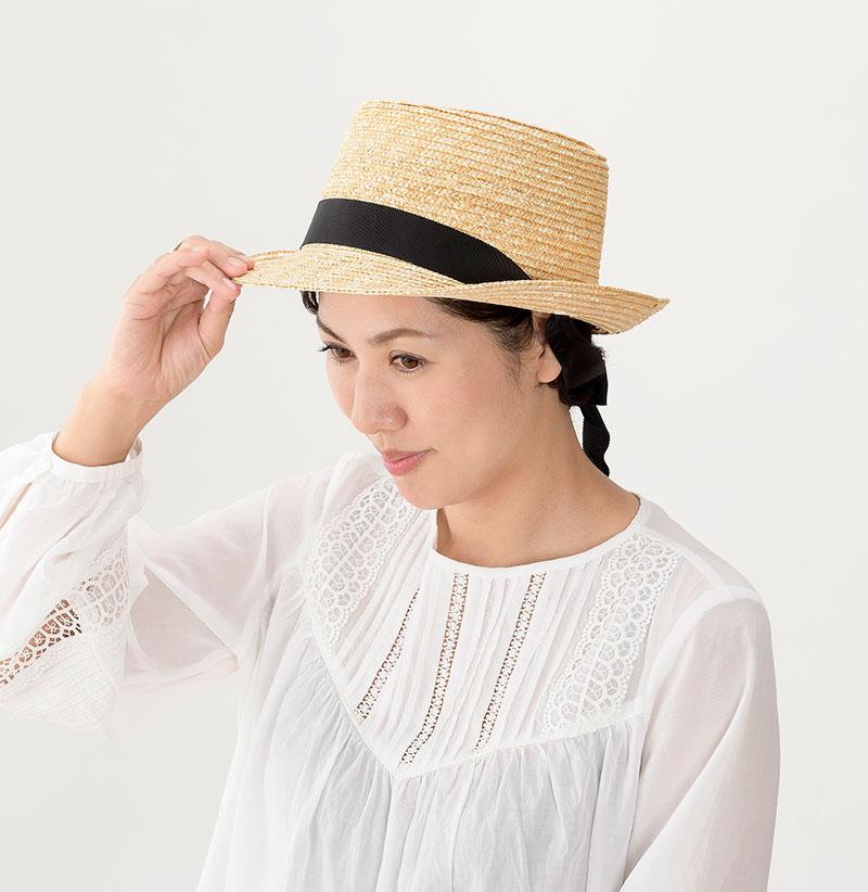 田中帽子店 uk-h078-na Tina ティナ ポークパイ型 カンカン 帽子 麦わら 女性用  ロングリボン ハット 57.5cm モデルカット