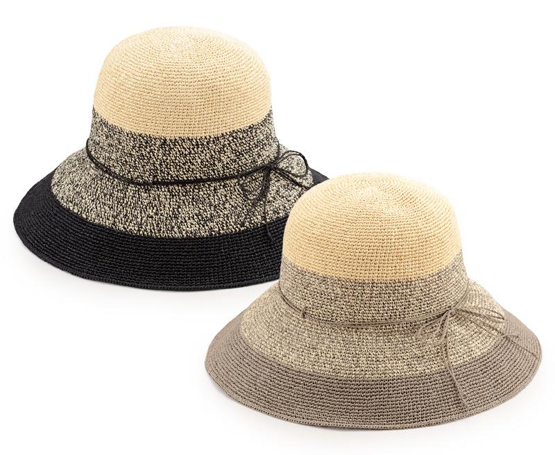 田中帽子店 uk-h080 Aria アリア 洗える ペーパーキャペリン 女性用 58cm 透かし編みがアクセント。風通しのよい中折れ麦わら帽子 洗える和紙を用いて、職人の手編みで仕上げられた細編み帽子