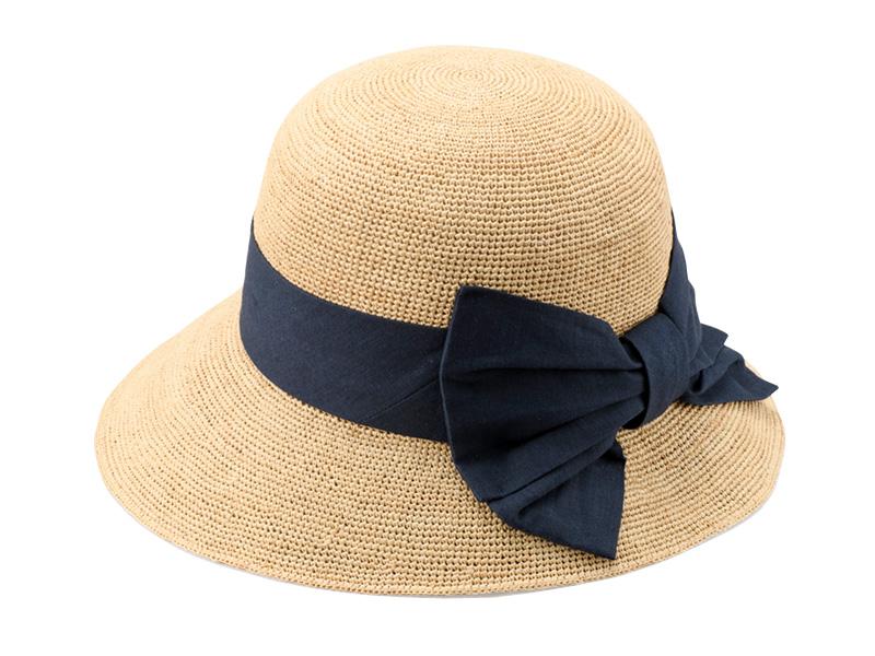 田中帽子店 uk-h090 Nadia ナディア ラフィア 綿麻リボン 女優帽 57.5cm 繊細な魅力が惹き立つレース装飾のラフィアハット。