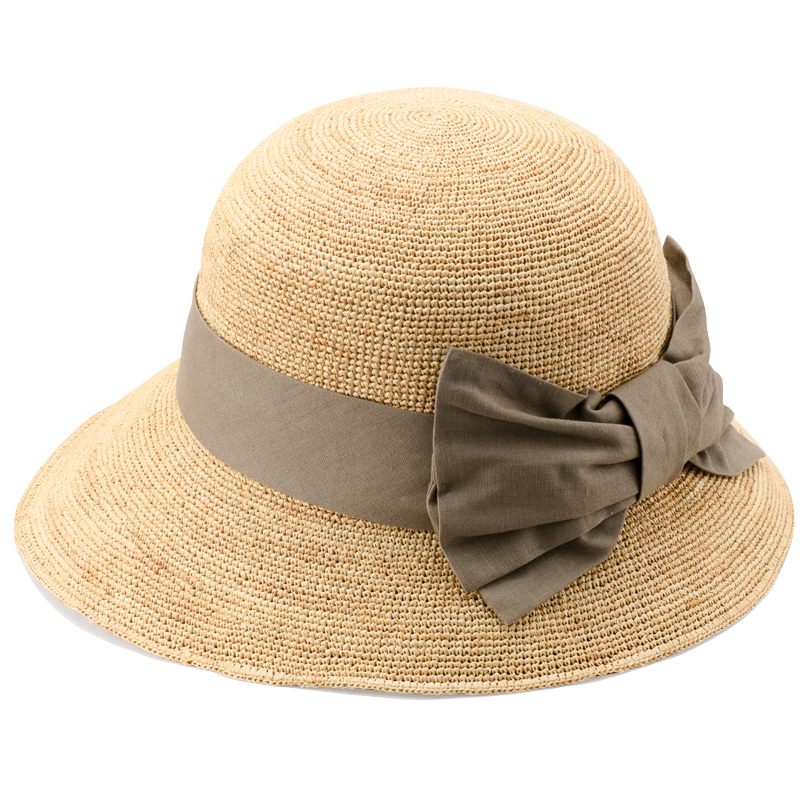 田中帽子店 uk-h090 Nadia ナディア ラフィア 綿麻リボン 女優帽 57.5cm ナチュラル×カーキ