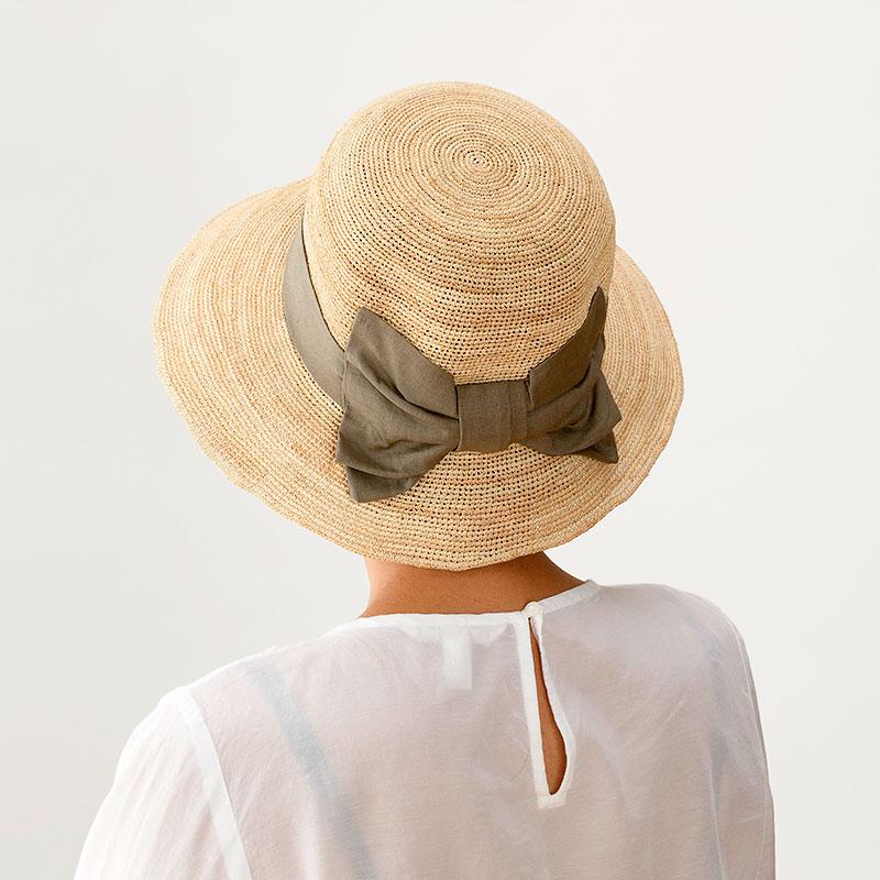 田中帽子店 uk-h090 Nadia ナディア ラフィア 綿麻リボン 女優帽 57.5cm