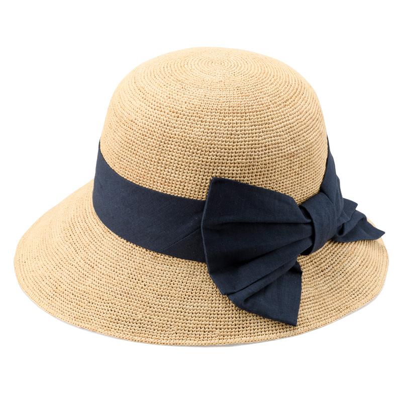 田中帽子店 uk-h090 Nadia ナディア ラフィア 綿麻リボン 女優帽 57.5cm ナチュラル×ネイビー