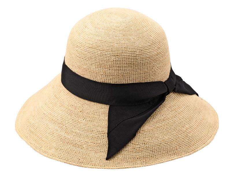 田中帽子店 uk-h091 Fiona フィオナ ラフィア つば広リボン キャペリン 57.5cm ワイヤー入りで自分好みのシルエットを。広めのツバとリボンモチーフがポイントの春夏の定番アイテムのラフィアハット。
