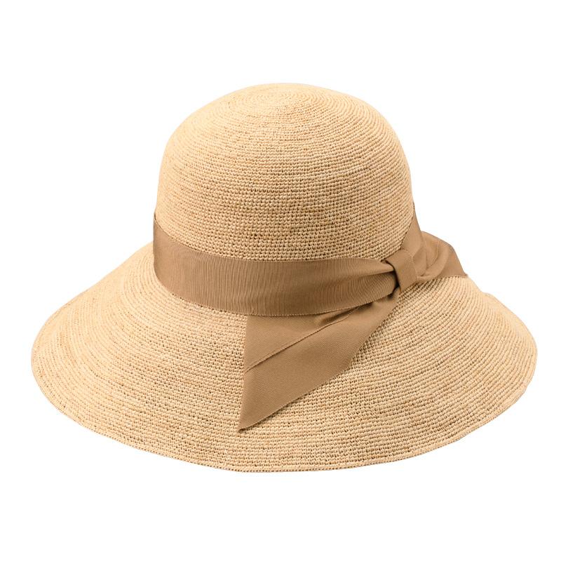 田中帽子店 uk-h091 Fiona フィオナ ラフィア つば広リボン キャペリン 57.5cm  ベージュ