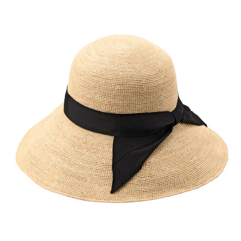 田中帽子店 uk-h091 Fiona フィオナ ラフィア つば広リボン キャペリン 57.5cm  ブラック
