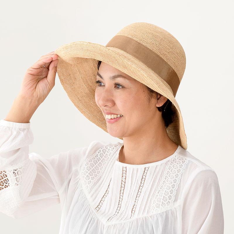 田中帽子店 uk-h091 Fiona フィオナ ラフィア つば広リボン キャペリン 57.5cm