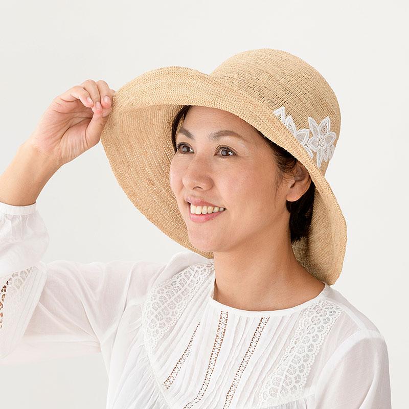 田中帽子店 uk-h092 Sally サリー ラフィア つば広レース付 キャペリン 57.5cm