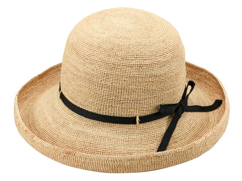 田中帽子店 uk-h093 Claire クレール ラフィア エッジアップリボン 57.5cm 柔らかく丈夫なラフィアで作ったたためるラフィアハット