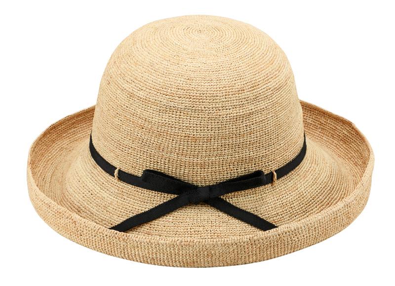 田中帽子店 uk-h093 Claire クレール ラフィア エッジアップリボン 57.5cm 折りたたみ可能だから、おでかけにも最適! 丈夫で軽くて通気性も良くこれからの季節に最適な逸品です。使用する程に良い風合いになり、柔らかい素材は折りたたみも可能で、さっとバックに入れて持ち運びにも便利です。