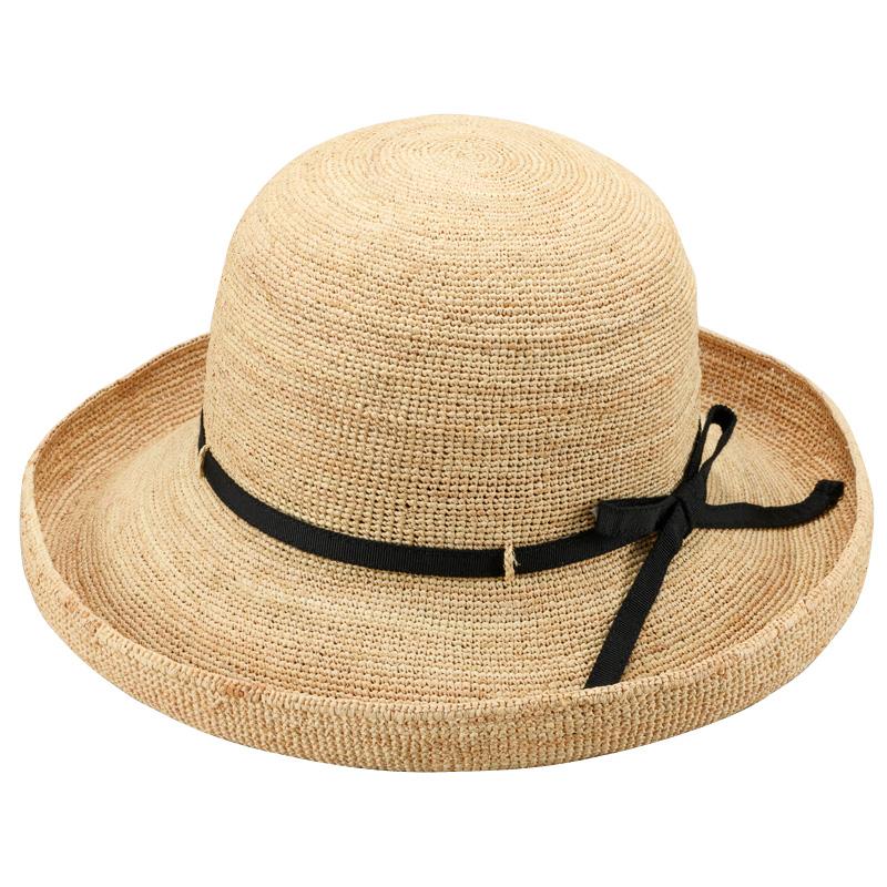 田中帽子店 uk-h093 Claire クレール ラフィア エッジアップリボン 57.5cm ナチュラル